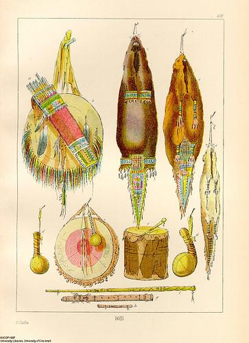 016-Escudo y carcaj-bolsas de tabaco-instrumentos musicales-Geroge Catlin 1841