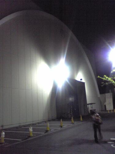 A Toho Studios building at night
