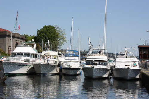 Boats line up at the Ballard Locks.