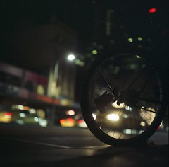 before sunrise (hurtingbombz) Tags: street 120 6x6 bike wheel night leaf bokeh tl australia melbourne pro mf f28 80mm pentaconsix carlzeissjena biometar 800z