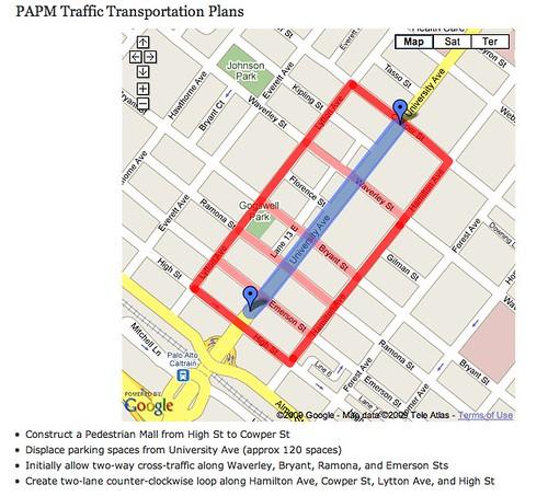 Map Palo Alto Pedestrian Mall