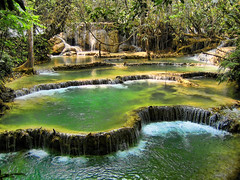 Waterfalls (Str1ke) Tags: trees green water pool waterfall asia si jungle laos tat province kuang luang prabang
