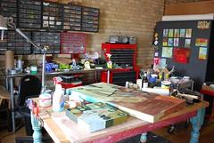 studio table gilhooly (gilhooly studio) Tags: studio workinprogress collections supplies materials sorting artgeek studioday barbaragilhooly 801exhibition