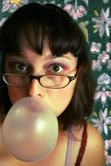 day231 grape (Opal in the rough) Tags: portrait woman cute me face self gum hair glasses eyes makeup bubble bangs quirky childlike opalintherough