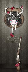 deer girl (Anita Mejia) Tags: cute art girl wall illustration digital butterfly grey gun mixedmedia deer horror macabre ilustracion inks chocolatita anitamejia