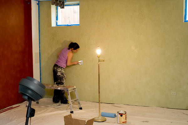 Venetian Plaster Wall, in Process