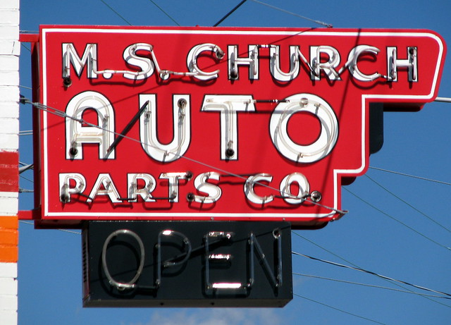 M.S. Church Auto Parts neon sign