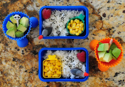 Vegetarian bento (they practically licked the plates clean!)