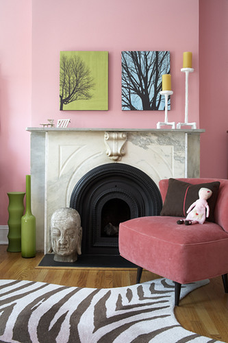 Pink bedroom in Park Slope: Marble fireplace + modern art