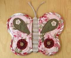 Butterfly Potholder 7 (PatchworkPottery) Tags: butterfly linen cotton quilted applique zakka potholder potgrabber