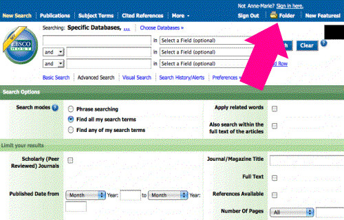 screenshot - EBSCOhost MyEBSCOhost folder