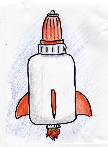 Glue bottle rocketship