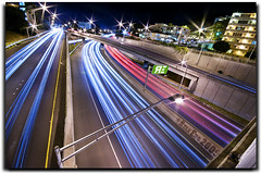 The Blue Movement (Ryan Eng) Tags: longexposure blue red silver hawaii highway oahu overpass onramp freeway honolulu lighttrails exit h1 dri carlights lightstreaks sigma1020mm shutterdrag digitalblending nikond90 ryaneng
