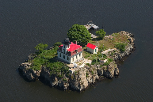 Aerial view of Pomham Rocks Lighthouse