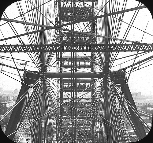 In Ferris Wheel, Chicago World's Fair, 1893