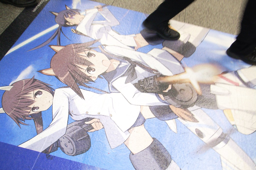 Strike witches in Akihabara station exitgate