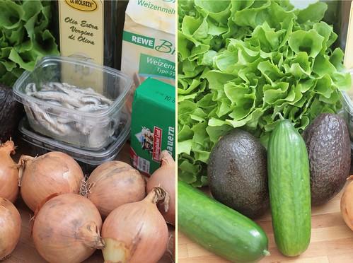 Oignons, anchois, huile d'olive & verdure