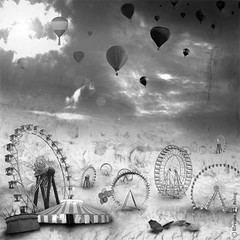 Despedida (Bruno Fleming) Tags: sky blackandwhite art texture textura photoshop design fantastic arte circo circus surrealism ballon internet dream balo surreal cu fantasy fantasia imagination fantstico pretoebranco sonho rodagigante lona abandono fuga grizzlybear guardachuva surrealismo imaginao circense brunofleming