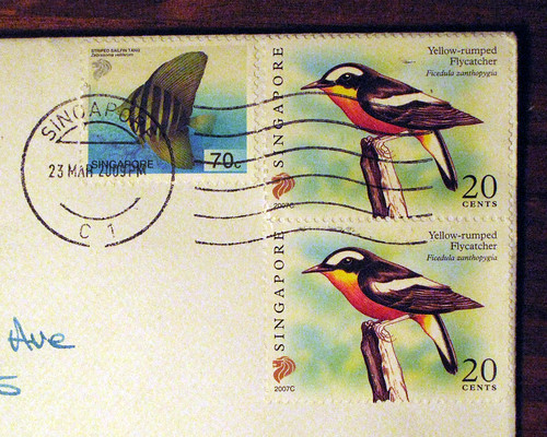 Singapore stamps: birds and fish