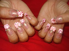Kawaii Pink Bow Nails (Pinky Anela) Tags: cute japanese nail kawaii hime nailart tokyostyle japanesenails princessnails