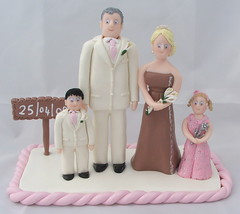 Fimo Wedding Cake Toppers (pauline@weddingtreasures) Tags: family wedding cake groom bride fimo figurines clay bridesmaid sculpey flowergirl polymer pageboy