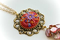 with mums in mind pendant (Chili Crab) Tags: pink flowers blue red yellow one beads chili crystal handmade ooak violet crab jewelry kind fimo lilac clay etsy brass 2009 mothersday pendant filigree polymer swarovsky