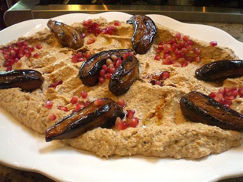 "Eggplant with Tahini sauce and pomegranate ""Baba Ganoush"""