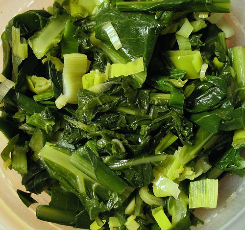 steamed spring greens