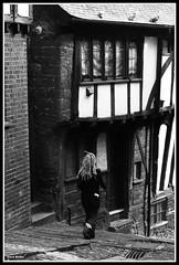 Tudor House (Frog n fries) Tags: blackandwhite house pigeons pedestrian tudor devon exeter cobbles blackwhitephotos stepcotehill
