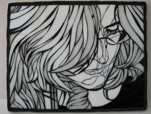Self Portrait in Black and White - Stained Glass Mosaic Wall Art
