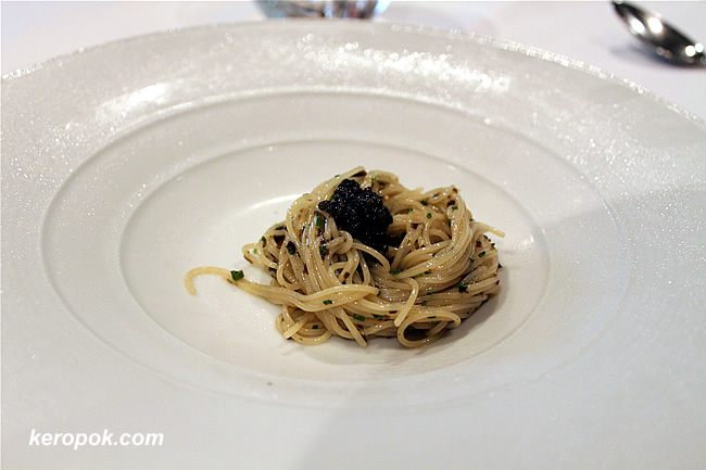 Cold Angel-hair pasta, caviar
