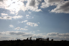 Ruins In Silhouette (MykReeve) Tags: blue sky cloud silhouette clouds town roman horizon columns morocco column volubilis    geo:lat=34072169 geo:lon=5552489