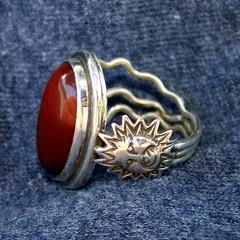 Ring of Apollo's  Favor (leespicedragon) Tags: original red sun art agate silver god roman handmade oneofakind ooak magic jewelry sterling spiritual magical lapidary grek apallo marvinleebillings fabrcated