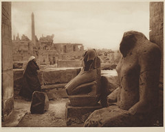 'Karnak - The Amon Temple' (National Media Museum) Tags: africa 1920s sculpture man sepia architecture temple ancient ruins robe egypt cairo obelisk damaged karnak amon collotype nohad nationalmediamuseum rudolphlehnert ernstlandrock
