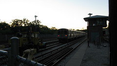 The CTA Linden Avenue yard at twilight time. Wilmette Illinois. Early June 2009.
