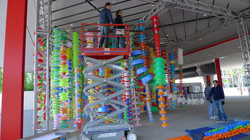 LACMA - Cube of Hanging Plastics Being Installed