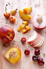 stone fruits (cannelle-vanille) Tags: summer thesouth tarts nectarines redcherries rainiercherries whitepeaches stonefruits icecreamandsorbets