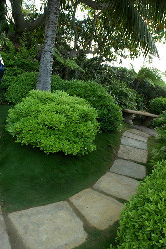 The Path, flagstones, green grass, green trees, bright sky, stone bench, Meditation Garden - Self-Realization Fellowship, Encinitas, California, USA by Wonderlane