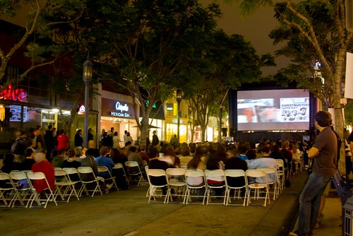 Outdoor Cinema on an Inflatable Screen in Los Angeles, California