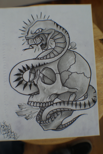 heres a sketch that i made for a mural to be painted in the tattoo shop