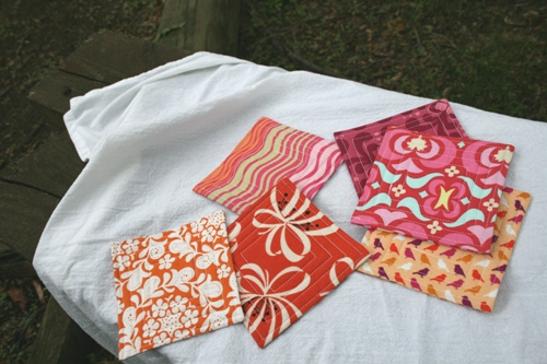 orange/pink fabric coasters