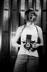 Rolleiflex Self Portrait '95 (Jamie Powell Sheppard) Tags: portrait blackandwhite bw selfportrait art film me girl female rolleiflex photo fineart vintagecamera 1995 18yearsold kodaktrix400 50mmlens pentaxk100 35mmslr femalephotographer girlwithcamera hc110dilb jamiepowell girlwithtlr