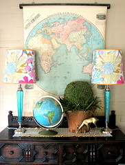 1898 Eastern Hemisphere and Liberty of London (Trisha Brink Design) Tags: pink blue color green glass yellow vintage fun store globe topiary map antique turquoise room cream retro deer thrift diningroom lamps buffet secondhand sideboard whimsical taupe walldecor schoolmap trishabrinkdesign rummagerestyled
