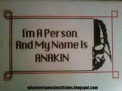 Anakin's First Flash of Anger (whateverjames) Tags: starwars needlework darthvader episodei anakinskywalker starwarscraft whateverjamescrossstitchcrafts hanstitchedfirst