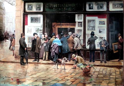 joan ferrer miró 'exposición pública de un cuadro' MNAC en el paseo recoletos (hacia 1888)