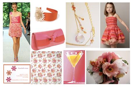 Pink Orange Floral Inspiration Board