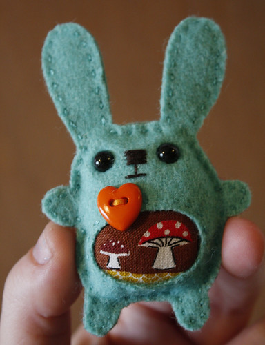 Bunny loves mushrooms brooch