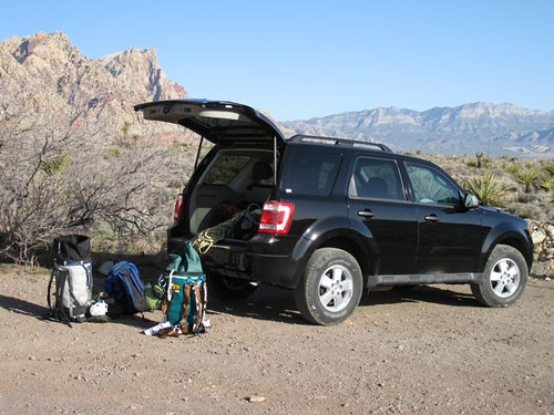 This trip's extrememobile, a great little Ford Escape (free upgrade, thanks Hertz).  At Black Velvet Canyon.