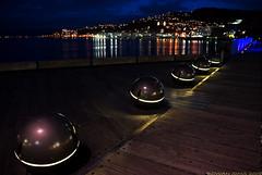 Wellington Waterfront (Rowan Sims) Tags: city newzealand urban sculpture water dark lights dock wellington invision nightwellington landscapewellington rowansims invisionphotography