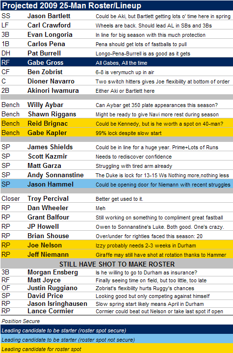 Projected 2009 Tampa Bay Rays 25-Man Roster Redux